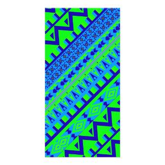 Blue Green Geo Abstract Aztec Tribal Print Pattern Card