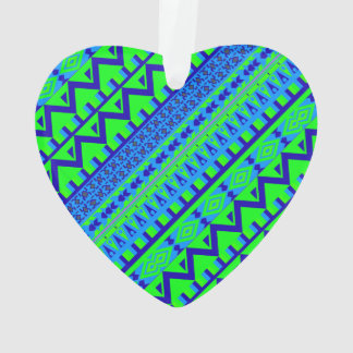 Blue Green Geo Abstract Aztec Tribal Print Pattern Ornament