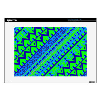 Blue Green Geo Abstract Aztec Tribal Print Pattern Skins For Laptops