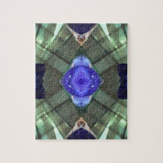 Blue Green Geometric Fractal Pattern Jigsaw Puzzle