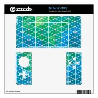 Blue & Green Geometric Triangle Pattern Skin For 3DS