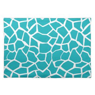 Blue-Green Giraffe Animal Print Place Mat