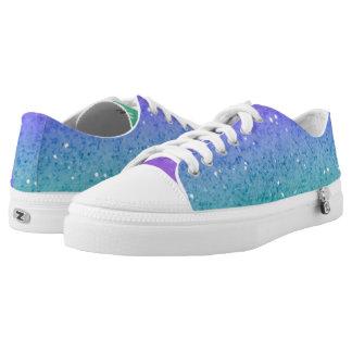 Blue & Green Glitter Low-Top Sneakers