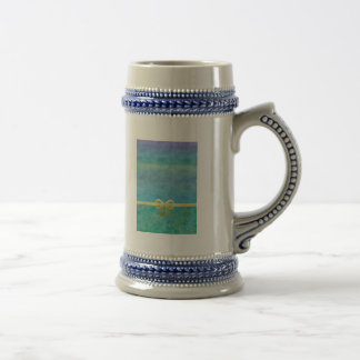 Blue Green Gold Ribbon Giftwrap Beer Stein