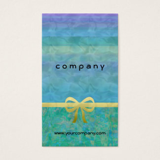 Blue Green Gold Ribbon Giftwrap Business Card