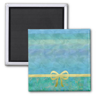 Blue Green Gold Ribbon Giftwrap Magnet