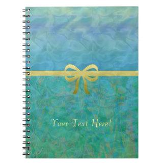 Blue Green Gold Ribbon Giftwrap Notebooks
