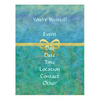 Blue Green Gold Ribbon Giftwrap Postcard