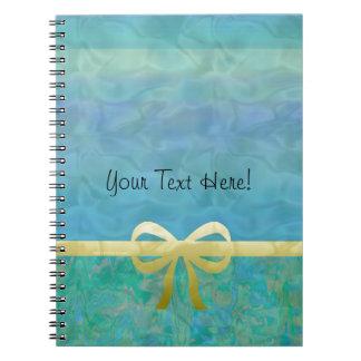 Blue Green Gold Ribbon Giftwrap Spiral Notebook