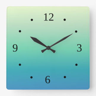 Blue Green Gradient Numbers Square Wall Clock