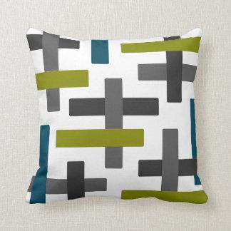 Blue Green Grey Abstract Bar Art Throw Pillow