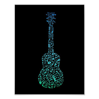 Blue & Green Guitar Of Music Notes Poster