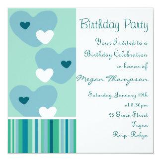 Blue & Green Heart Design Birthday Invitation
