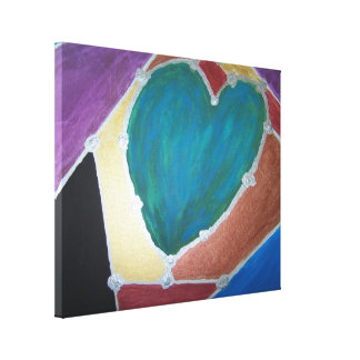 Blue Green Heart With Mosaic Theme Canvas Print