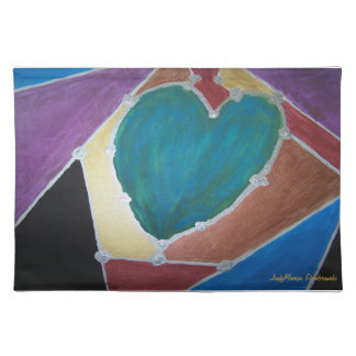 Blue Green Heart With Mosaic Theme Cloth Placemat