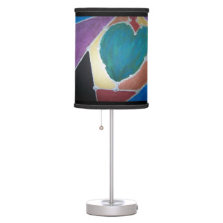 Blue Green Heart With Mosaic Theme Desk Lamp