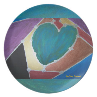 Blue Green Heart With Mosaic Theme Dinner Plate