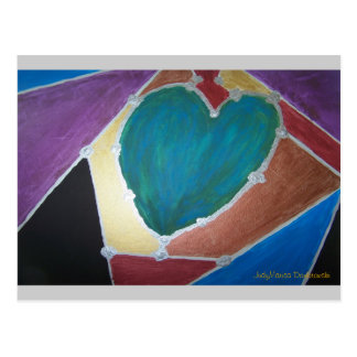 Blue Green Heart With Mosaic Theme Postcard