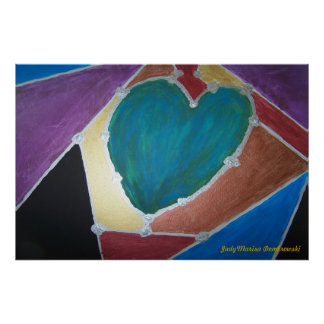 Blue Green Heart With Mosaic Theme Poster