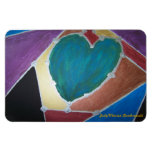Blue Green Heart With Mosaic Theme Rectangular Photo Magnet