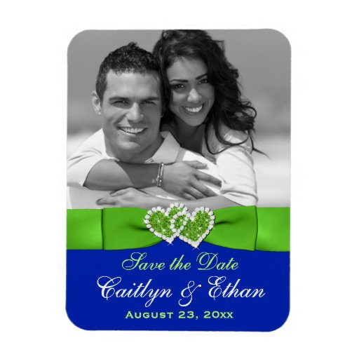 Blue, Green Hearts Save the Date Photo Magnet