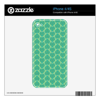 BLUE GREEN HEARTS SKINS FOR iPhone 4S