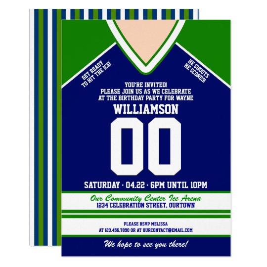 Blue Green Hockey Jersey Birthday Party Invitation