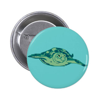 Blue-green honu sea turtle button