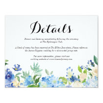 Blue Green Hydrangea Flower Wedding Details Card