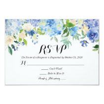 Blue Green Hydrangea Flower Wedding RSVP Card