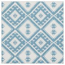 Blue green Ikat diamonds pattern fabric
