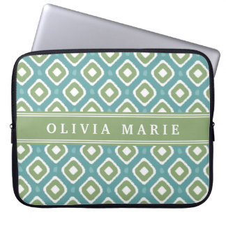 Blue Green Ikat Mod Pattern with Name Laptop Sleeve