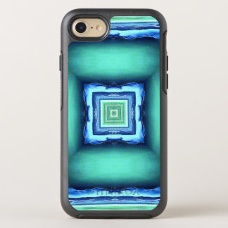 Blue Green Illusional Depth Pattern OtterBox Symmetry iPhone 7 Case