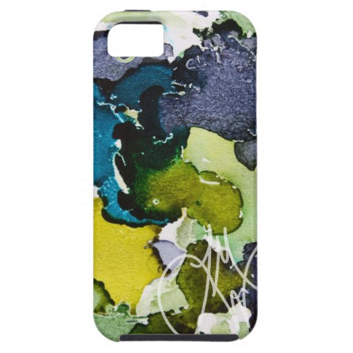 Blue Green Ink iPhone 5 Case