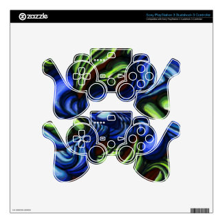 'Blue-Green Interaction' digital printed custom Decal For PS3 Controller