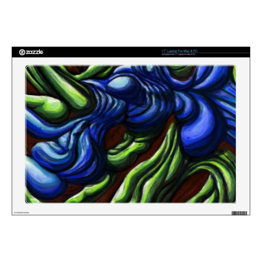'Blue-Green Interaction' digital printed custom Decals For Laptops