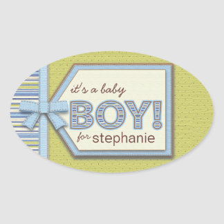 Blue Green It's a Boy Tag Bow & Ribbon Baby Favor