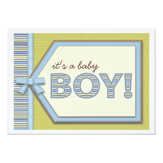 Blue Green It's a Boy Tag Bow & Ribbon Baby Shower Card