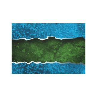 BLUE GREEN JAGGED STRIPES digital background wallp Canvas Print