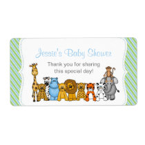 Blue Green Jungle Animals Water Bottle Favor Label