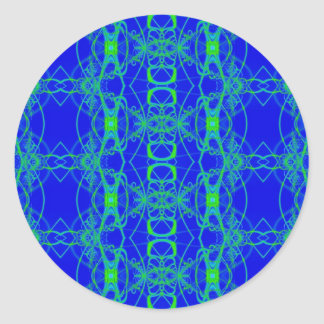 blue green lace classic round sticker