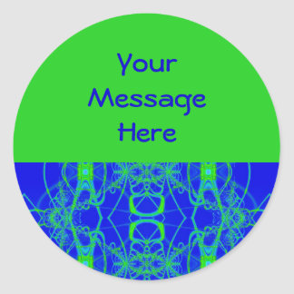 blue green lace classic round sticker