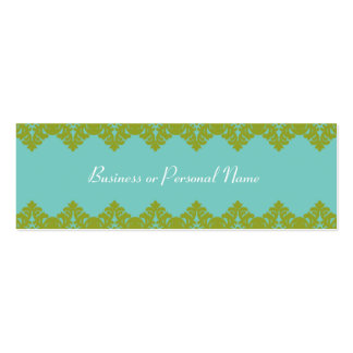 Blue & Green Lace Skinny Card Double-Sided Mini Business Cards (Pack Of 20)