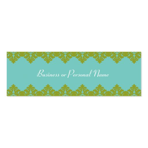 Blue & Green Lace Skinny Card Business Card