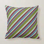 [ Thumbnail: Blue, Green, Light Cyan, Dark Gray & Dark Red Throw Pillow ]