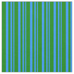 [ Thumbnail: Blue & Green Lined Pattern Fabric ]