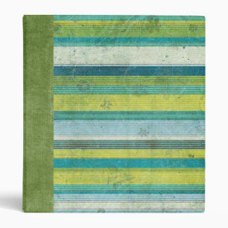 Blue Green Linen Stripe 3 Ring Binder
