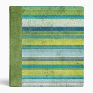 Blue Green Linen Stripe 3 Ring Binder