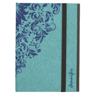 Blue-Green Linen Texture Royal Blue Lace Cover For iPad Air