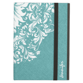 Blue-Green Linen Texture Royal White Lace iPad Air Case